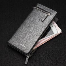 mens designer wallets cheap grsb  BYT Baellery Long Men's Leather Wallet with Zipper Baellery-B3393-3 Silver