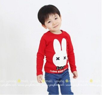 Cartoon cotton boy's girls T-shirt cute Top (Rabbit T-shirt long-sleeved-blue)