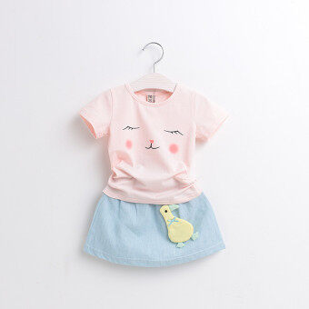 Cartoon cotton girls T-shirt (Small Huang Ya fresh suit-pink) (Small Huang Ya fresh suit-pink)