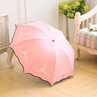 Cartoon teddy bear fully automatic folding umbrella (Eiffel tower love pink-ordinary paragraph) (Eiffel tower love pink-ordinary paragraph)