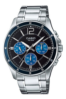 CASIO ENTICER MTP-1374D-2AV Analog Stainless Steel Watch Silver Black Blue