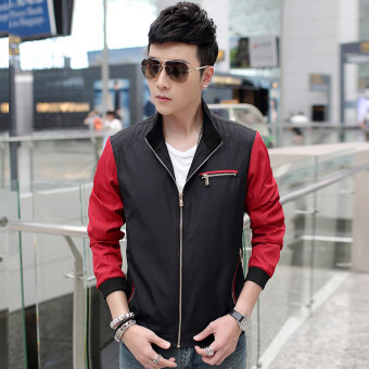Casual New style Spring and Autumn thin jacket men's jacket (Black)