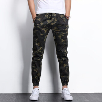 Casual stretch skinny sports casual pants ankle-length pants (Camouflage dark green)