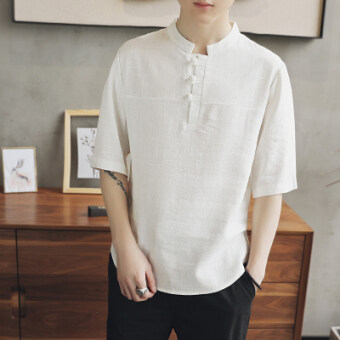 Chinese-style Chinese cotton linen short sleeved plate buttons Top T-shirt (White) (White)