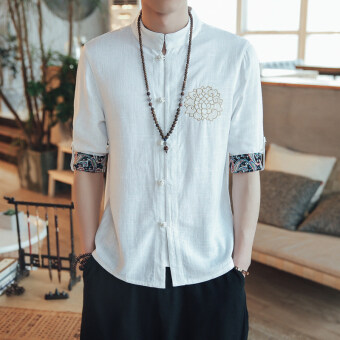 Chinese-style Chinese male Chinese clothing costume cotton linen Top shirt (White)