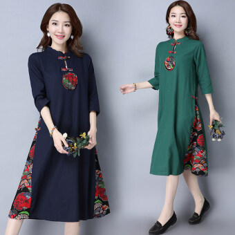 Chinese-style real shot original dress Linen dress spring (Navy blue) (Navy blue)