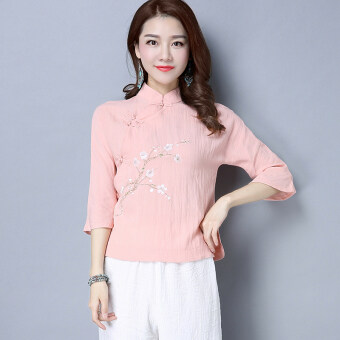 Chinese-style retro spring and New style Plate buttons cotton linen shirt Top (Pink) (Pink)