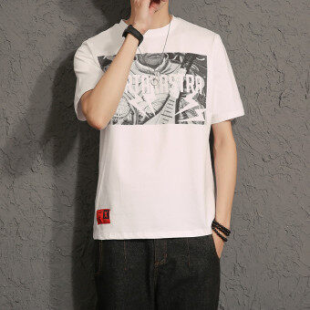 CHUSIHAI 17ss stitching black and white short sleeved contrasting color T-shirt bat (T52 white)