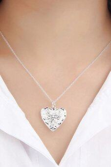 Cocotina Love Heart Locket Pendant Chain Necklace (Silver)