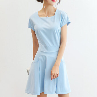 Color Diana New style Slim fit short-sleeved bottoming skirt dress(Sky blue) (Sky blue)