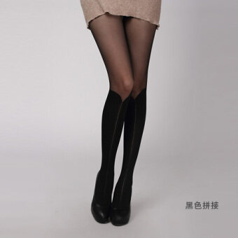 COS Japanese-style autumn over-the-knee candy-colored pantyhose stockings socks (Black stitching)
