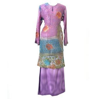 Cotton & Silk - Baju Kurung - Brasso Matching 9601 A4 Purple