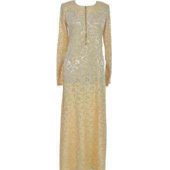 Cotton & Silk - Jubah - Abaya - Dress - 10107 -Golden FrenchCrepe Jacquard - Jubah Ain