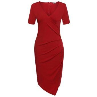 Cyber Meaneor Sexy Women V Neck Short Sleeve Bodycon Evening PartyIrregular Summer Dress(red)