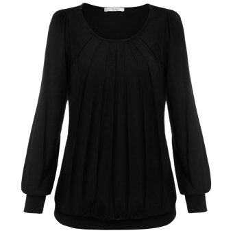 Cyber Meaneor Women Long Sleeve Scoop Neck Front Drape Casual Blouse Shirt Top ( Black )