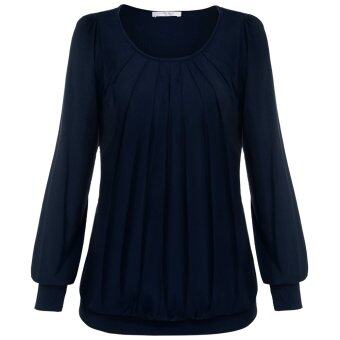 Cyber Meaneor Women Long Sleeve Scoop Neck Front Drape Casual Blouse Shirt Top ( Dark Blue )