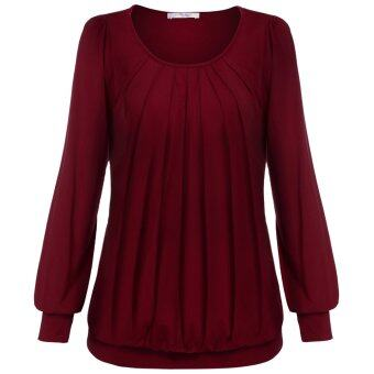 Cyber Meaneor Women Long Sleeve Scoop Neck Front Drape Casual Blouse Shirt Top ( Wine Red )