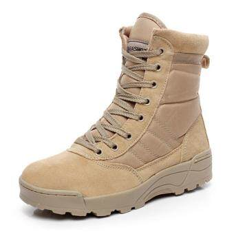 Desert Tactical Military Boots SWAT Combat Boots Men Outdoor HikingCamping Shoes(Khaki)