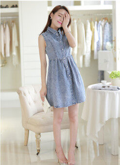 Double Style Closet Front Button Sleeveless Denim Dress