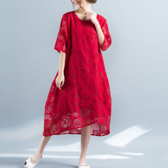 Elegant loose round neck hollow sleeve Jacquard dress (Red) (Red)