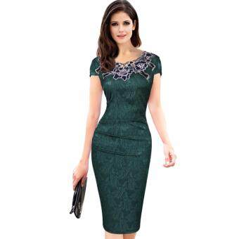 Elegant Women Floral Lace Bodycon Summer Dress Ladies Office Work Party Sheath Pencil Dresses Tunic 2017 Deep Green