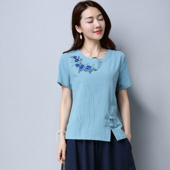 Embroidery flower double plate buttons bottoming short-sleeved T-shirt summer (Blue) (Blue)
