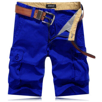 [Every day special] Summer male tooling shorts five pantsmulti-pocket straight outdoor sports beach pants five points pants(Blue)