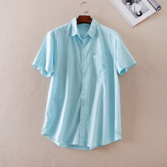 Exquisite a937 fresh Jacquard sky blue color summer short sleeved shirt