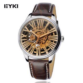 Eyki Skeleton Automatic EFL8560 Tourbillon Man Leather Watch Brown/Brown Strap