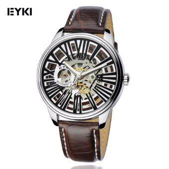 Eyki Skeleton Automatic EFL8560 Tourbillon Man Leather WatchBlack/Brown Strap