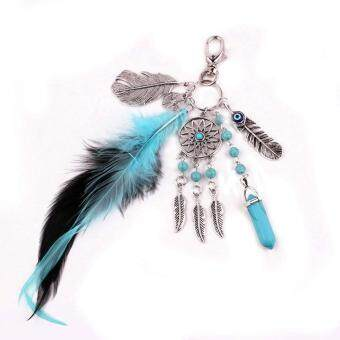 Family Retro Key Chain Bohemian Alloy Dream Catcher PendantNecklace Feather Tassels Sets Key Chain Accessories