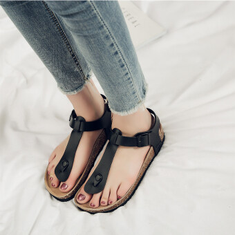 Fashion female outerwear flat Driving shoes sandals (103 sandals black) (103 sandals black)