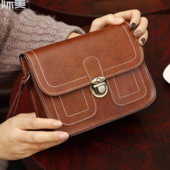 Fashion Korean Trendy Women Ladies Female Teenage All Match High Quality Small Mini PU Leather Cross-body Sling Shopping Bag (Brown)