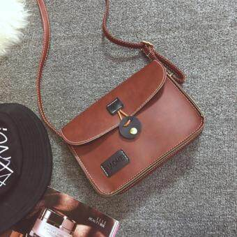 Fashion Korean Women Ladies Female Teenage Adults Student All Match High Quality Small Mini PU Leather Bucket Cross-body Sling Handbag Casual Lifestyle Shopping Bag (Dark Brown)