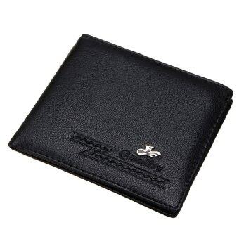 Fashion Men PU Leather Wallet Card Holder Coin Purse Pockets Bifold Money Clip Black