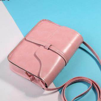 Fashion Pastel Sweet Korean Women Ladies Female Teenage Adults Student All Match High Quality Small Mini PU Leather Bucket Cross-body Sling Handbag Casual Shopping Bag (Pink)