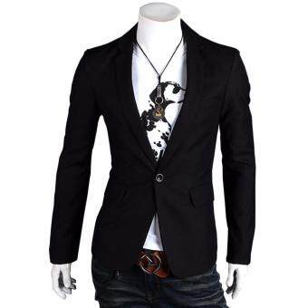 Fashion Stylish Men's Outwear One Button Casual Slim Fit BlazerCoat Jacket Suit [black]