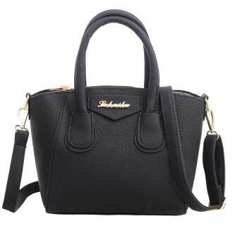 Fashion Women PU Leather Handbag Messenger Bag (Black)
