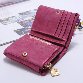 Fashion Women Purse Leather Lady Handbag Wallet Button Clutch CardCase Coin Bag Rose Red