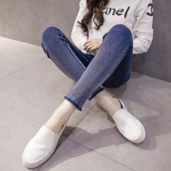 Fat mm spring high waist stretch slim fit denim leggings outer wear Plus-sized long pants Slimming effect feet pants 200 kg (Blue raw-cut models 7113)