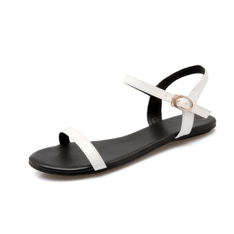Flat sandals Female Summer 2017 New style simple wild a word withKorean-style student gel toe non-slip fashion patent leather tide(White a word)