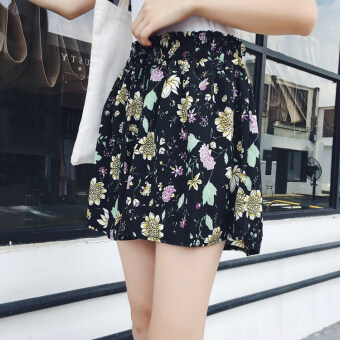 Floral Korean-style slimming printed shorts (5 No. Chrysanthemum black) (5 No. Chrysanthemum black)