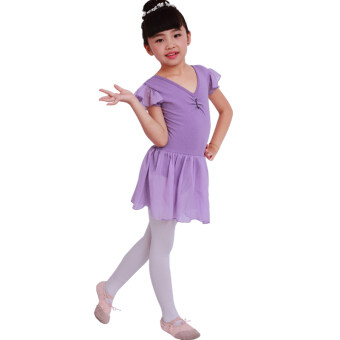 Girls summer ballet skirts and clothes (Purple (plus 10 yuan to send dance socks))