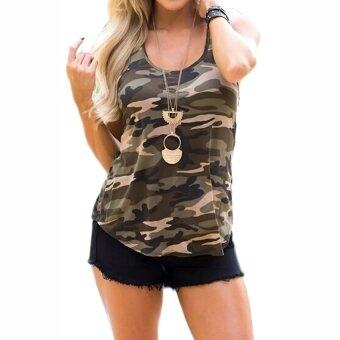 Gracefulvara Fashion Women Summer Camo Vest Top Sleeveless BlouseCasual Tank Tops T Shirt