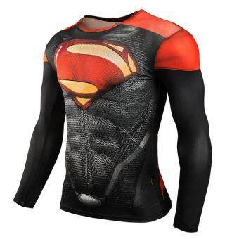 Hang-Qiao Fitness Compression Shirt Men Superman Bodybuilding LongSleeve 3D T Shirt Crossfit Tops Shirts (Red)