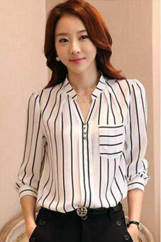 Hang Qiao Hot Sell Korean Style Shirt Women Striped Tops V Neck Blouse White Lazada Malaysia