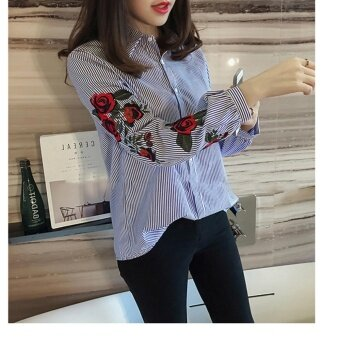Hanyu Korean Style Women Casual Long Sleeve Blouse Floral Embroidered Shirt Striped Tops (Blue)