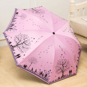 Happy tree anti-UV creative umbrella small fresh Folding Umbrellasun umbrella rain or shine dual SUN umbrella three folding umbrella(Pink and purple-happy tree)