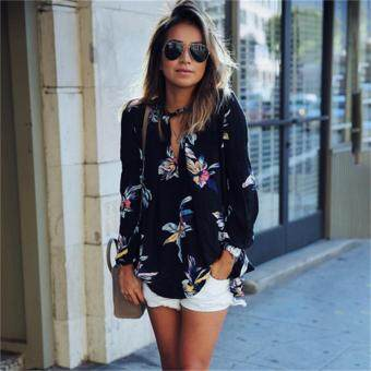 HengSong Fashion Women Casual Spring Summer Floral Print Hollow OutV neck Long Sleeve Chiffon Shirt Blouse Top