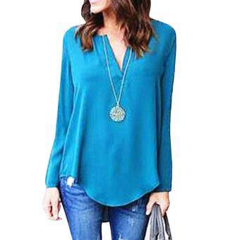 Hequ Fashion Deep V-Neck Women Shirt Loose Casual Women OL Style Tops Blouse Long Sleeve T Shirt Blue